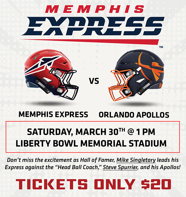 Memphis Express vs. Orlando Apollos Saturday March 30th @1pm | Liberty Bowl Memorial Stadium